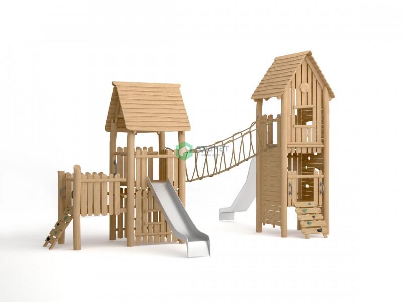Детский городок с двумя домиками