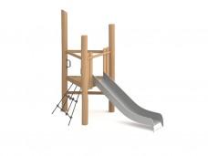Треугольная платформа для малышей с горкой и сеткой 900