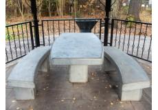 Эллипсообразный парковый стол со скамейками